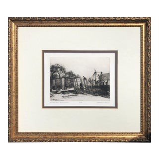 """On the Ways, Provincetown"" Vintage Nautical Etching by Leonard H Mersky For Sale"