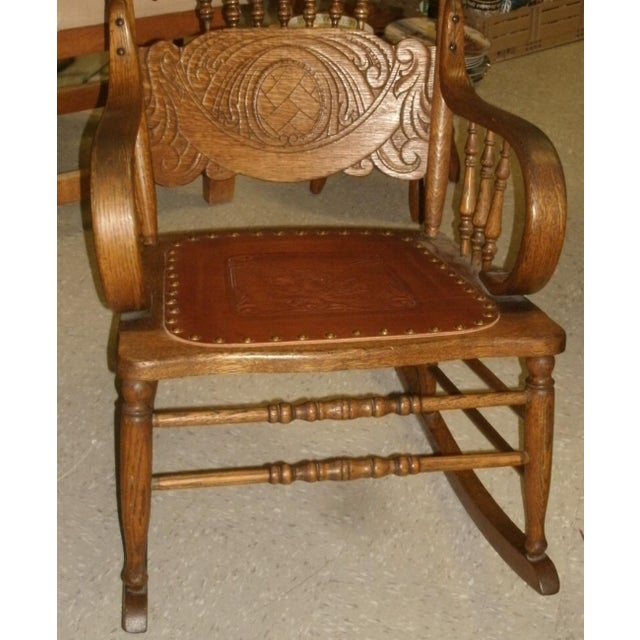 Early 20th Century Antique Larkin Soap Company Ribbon Back Oak Rocking Chair For Sale - Image 5 of 13