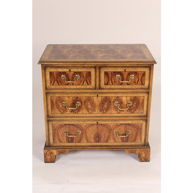 George II style oyster burl chest of drawers, circa mid 20th century. A rare type of wood, brass hardware and hand...
