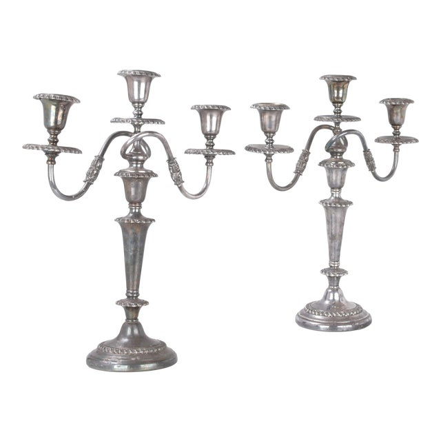 Silver Plated Three Arm Candelabra by Friedman Silver Co. a - Pair For Sale