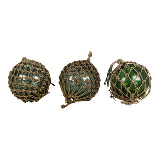Japanese Fishing Net Glass Floats - Set of 3 For Sale