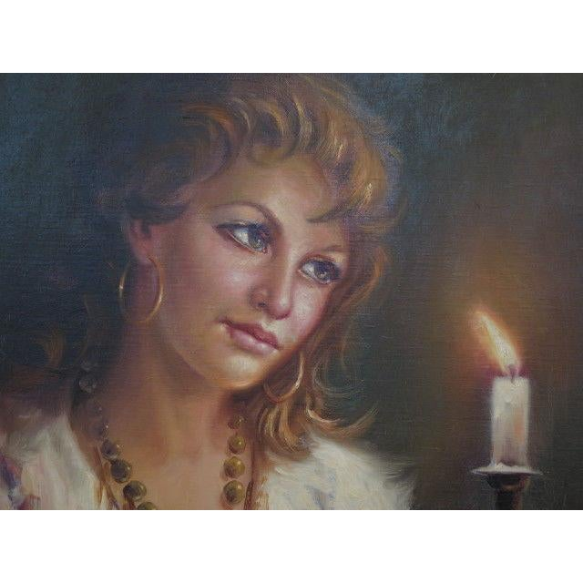 Italian 1960s Vintage Italian Portrait of Woman Framed Oil on Canvas Painting For Sale - Image 3 of 7