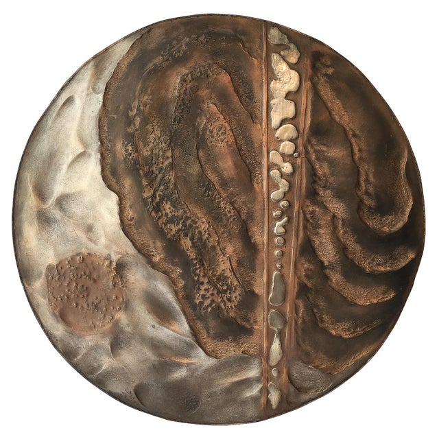 Brutalist Set of Two Brutalist Mixed Metal Wall Sculptures Signed Wendell For Sale - Image 3 of 13