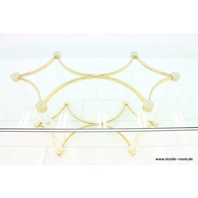 Lucite, Glass and Brass Dining Table, Romeo Paris, 1980s For Sale - Image 6 of 12