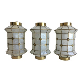 Capiz Shell Lanterns - Set of 3 For Sale