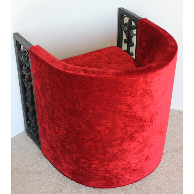 Wrought Iron and Red Velvet Club Chairs - Pair - Image 5 of 9