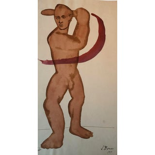 1959 Mid-Century Modern Male Nude James Bone Painting For Sale