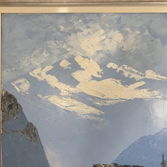 Blue Vintage Swiss Alps and Cabin Large Framed Painting For Sale - Image 8 of 13