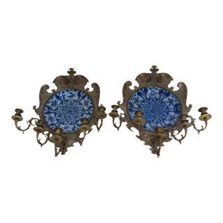 Delft Charger Wall Sconces - a Pair For Sale