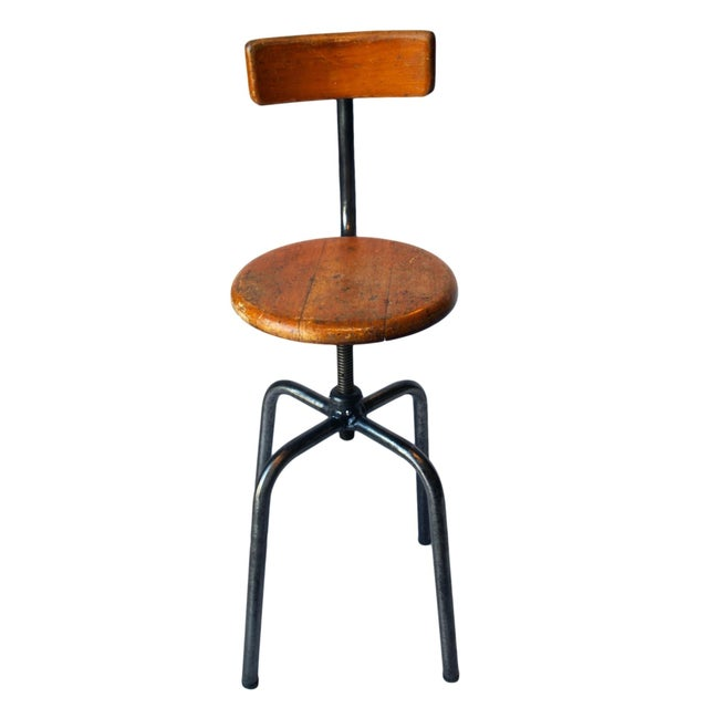 French Industrial Wood & Metal Chair - Image 9 of 9