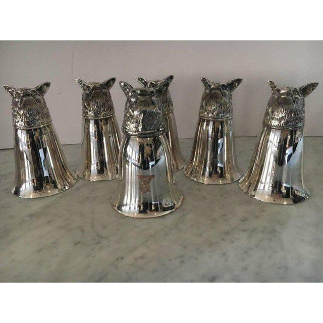 Country 1950s Vintage Silver Plate Gucci Style Hunt Stirrup Cups - Set of 6 For Sale - Image 3 of 6