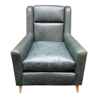 Mid-Century Style Green Leather Club Chair For Sale