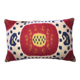 Brunschwig & Fils Samarkand Ikat Bolster Pillow For Sale