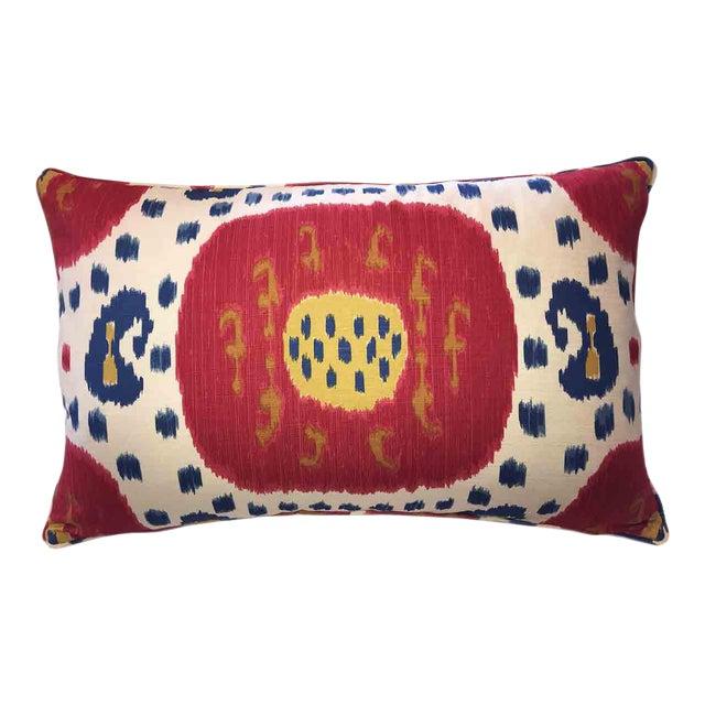 Brunschwig & Fils Samarkand Ikat Bolster Pillow For Sale