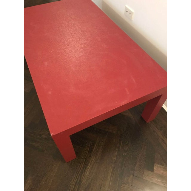 Red Lacquer Painted Parson's Style Coffee Table - Image 5 of 5