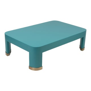 1980s Hollywood Regency Linen Wrapped Parsons Style Coffee Table After Karl Springer For Sale