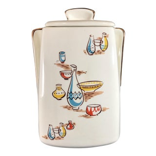 Stanford Sebring O. Mid Century Modern Multicolored Lidded Cookie Jar For Sale