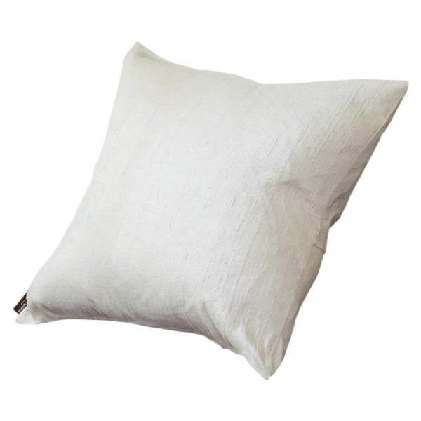 Ivory Raw Silk Square Pillow Cover - Image 1 of 4
