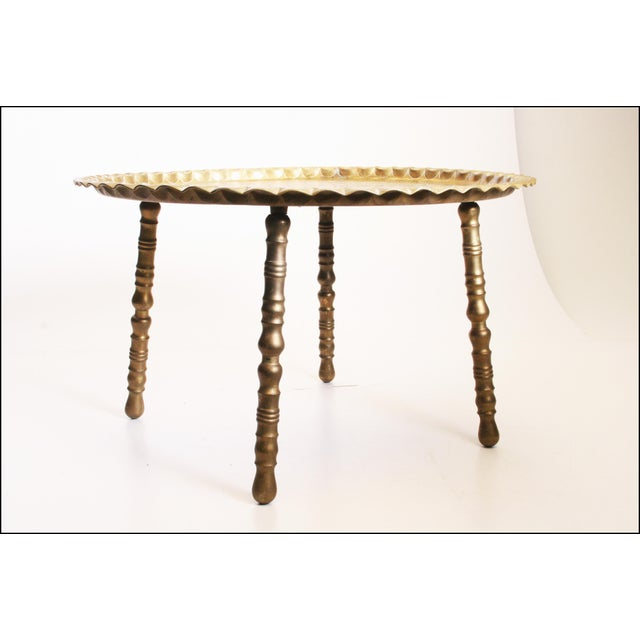 Vintage Moroccan Ornate Brass Charger Coffee Table - Image 6 of 11
