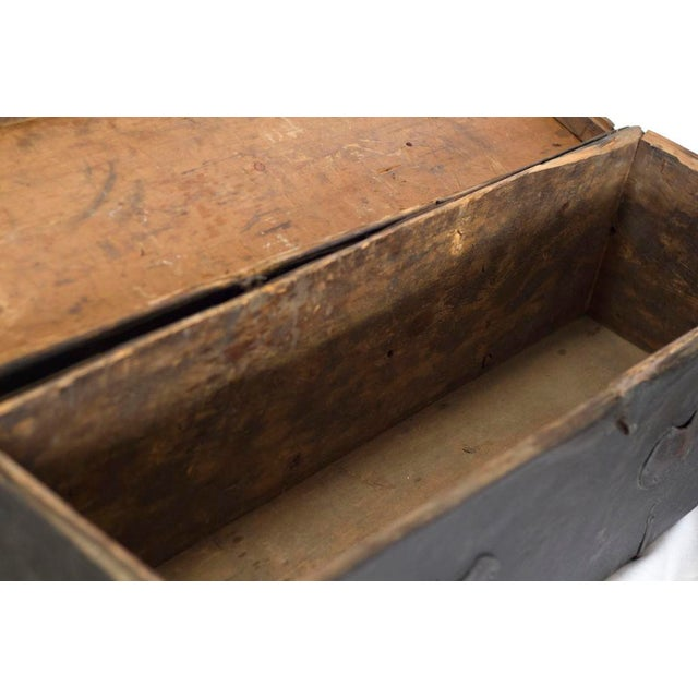 Tibetan Black Wood Leather & Iron Trunk For Sale - Image 4 of 5