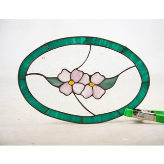 Arts and Crafts Floral Motif Oval Stained Glass Window Preview