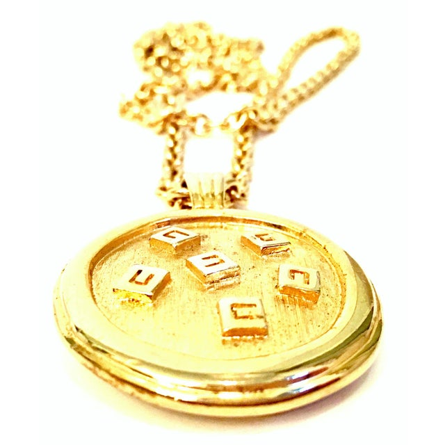 """Late 20th Century 20th Century Gold & Enamel """"G"""" Logo Reversible Givenchy Pendant Necklace For Sale - Image 5 of 9"""