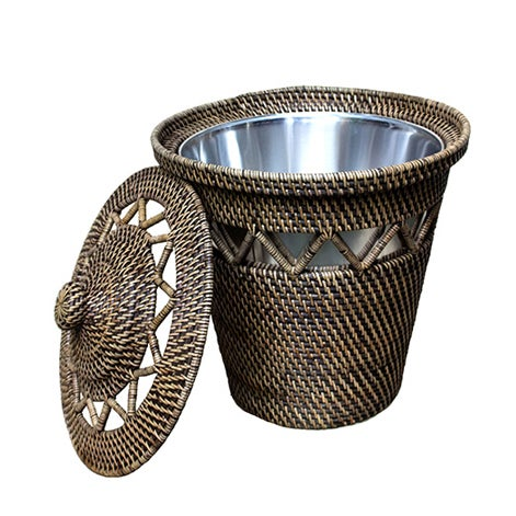 Rattan Basket with Open Weave Design {w/lining} - Image 1 of 2