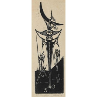 """""""Moonflowers"""" 1968 Woodcut For Sale"""