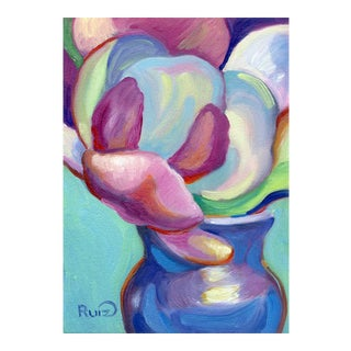 Pink Magnolias in Blue Vase Oil Painting