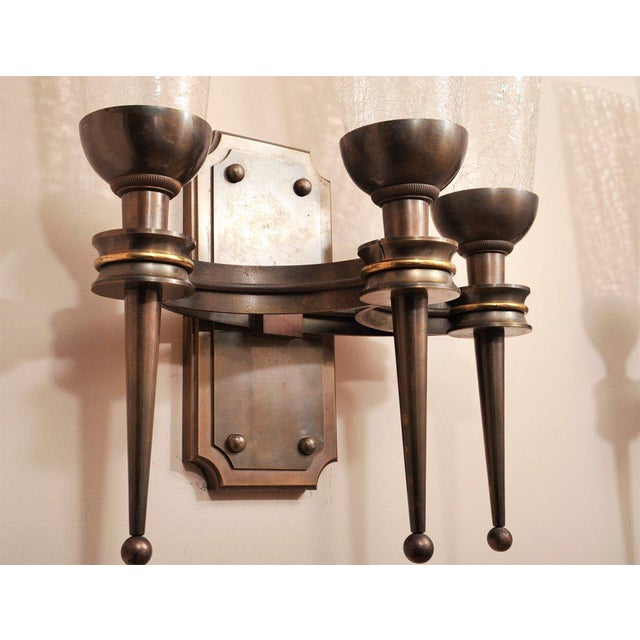 1940s Pair of Monumental 1940s Wall Sconces For Sale - Image 5 of 8