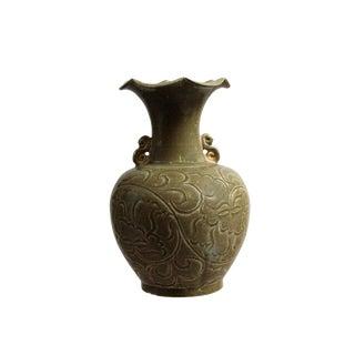 Chinese Handmade Ceramic Green Brown Floral Motif Vase