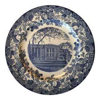 Vintage Mid-Century Harvard Law School Blue and White Wedgewood Plate For Sale