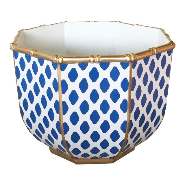 Bamboo Bowl in Navy Parsi For Sale