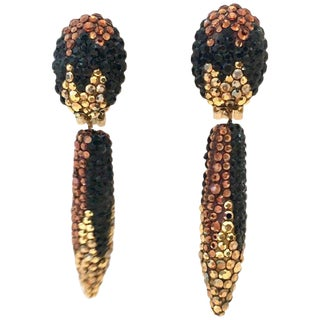 James Arpad Pair of Pave Swarovski Crystal Dangle Earrings For Sale
