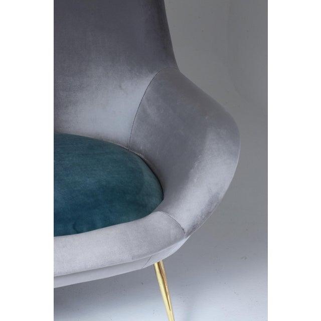 Italian Midcentury Velvet Sofa Set by ISA Bergamo, 1950s For Sale - Image 4 of 13