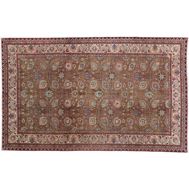 Vintage Persian Tabriz Gallery Rug with Arabesque Art Nouveau Style For Sale In Dallas - Image 6 of 7