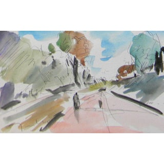 Contemporary Jose Trujillo Signed Watercolor on Paper Painting For Sale