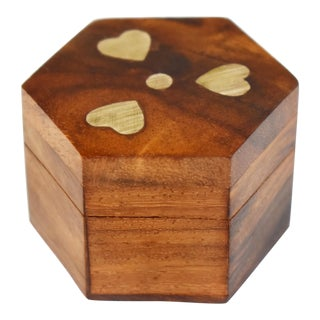 Mid 20th Century Vintage Hand Made Inlaid Brass Hearts Wooden Hexagon Box For Sale