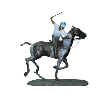 Important Monumental Lifesize bronze sculpture of a polo player William Behrends For Sale