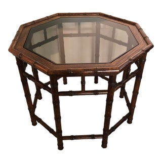 Vintage Chinoiserie Faux Bamboo Octagon Wood Side Table For Sale