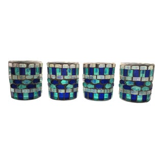 Moroccan Style Handcrafted Green and Blue Glass Mosaic Fish Votive Candle Holders - Set of 4 For Sale