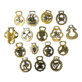 Collection of Vintage Equestrian Brass Bridal Bits For Sale
