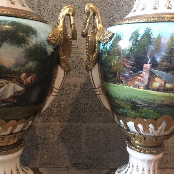 French Louis XVI Porcelain Vases - a Pair For Sale - Image 4 of 5