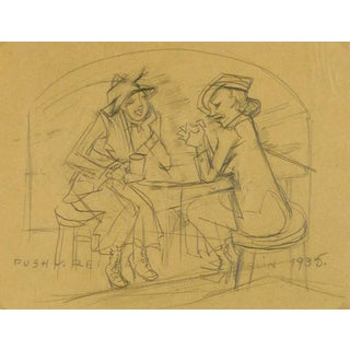 """Irmgard Von Reppert """"Ladies in Conversation"""" Drawing For Sale"""