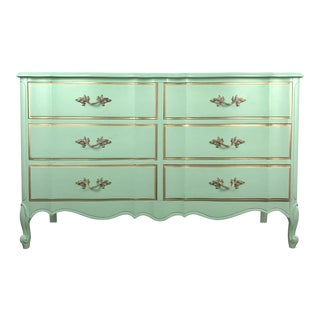 1970s French Provincial Dixie 6-Drawer Mint Green Chest of Drawers For Sale