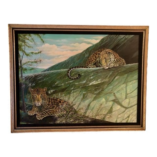 Extra Large Leopard Oil Painting Original For Sale