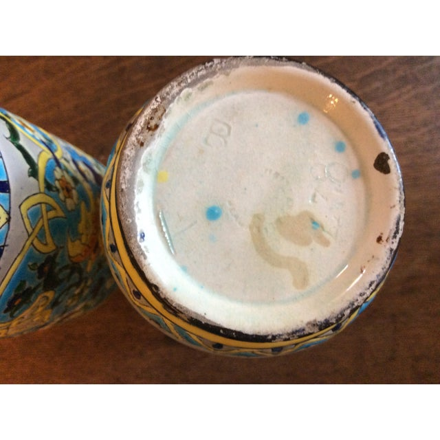 19th Century French Enameled Longwy Vases - a Pair For Sale - Image 4 of 12