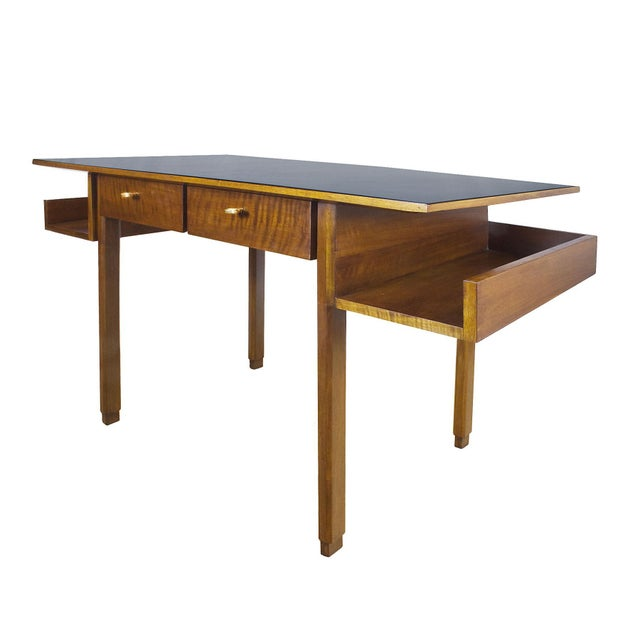 Rationalist desk, solid walnut and waxed walnut veneer, two drawers with brass keys. Shelves on each side. Original black...