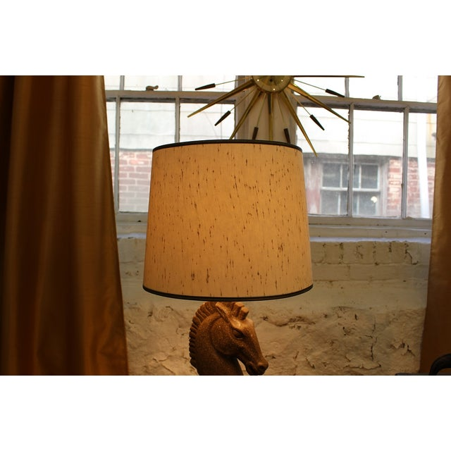 Brown Equestrian Ceramic Lamp and Shade For Sale - Image 8 of 8