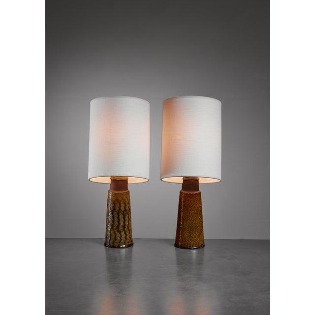 Herman H.C. Kahler Pair of Kahler ceramic table lamps, Denmark, 1960s For Sale - Image 4 of 4